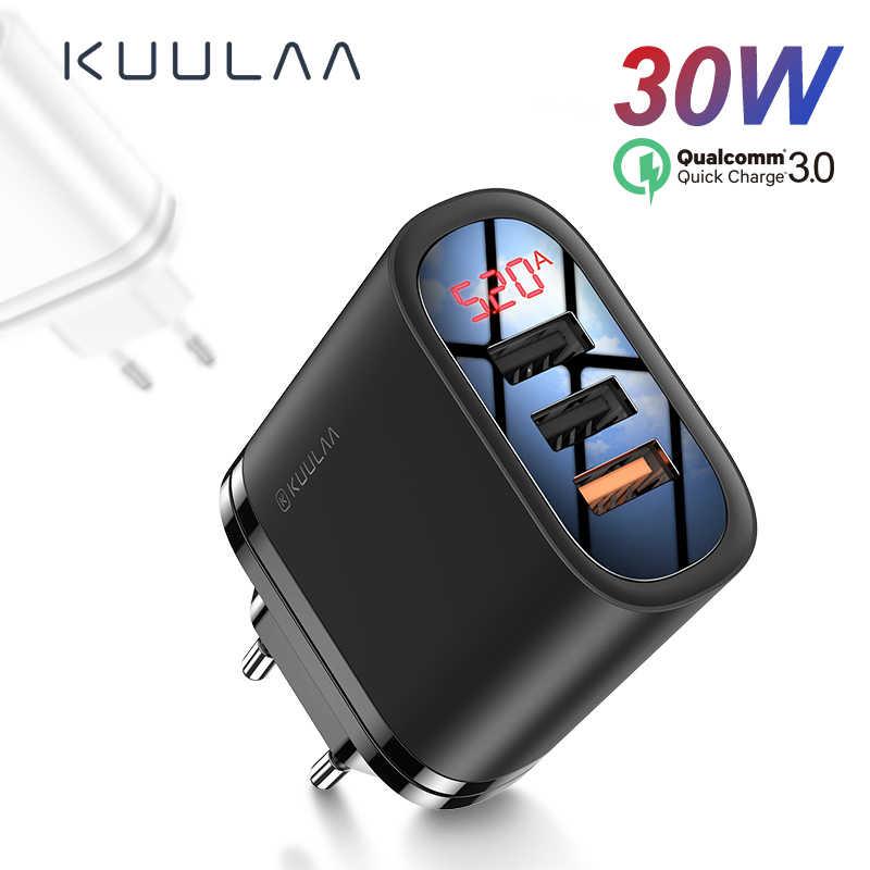 Kuulaa carga rápida 3.0 carregador usb 30 w qc3.0 qc carregamento rápido multi plug carregador do telefone móvel para iphone samsung xiaomi huawei
