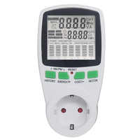 EU Digital Power Energy Meter Socket AC Voltmeter Ammeter Frequency Time Cost Monitor Power Factor Display