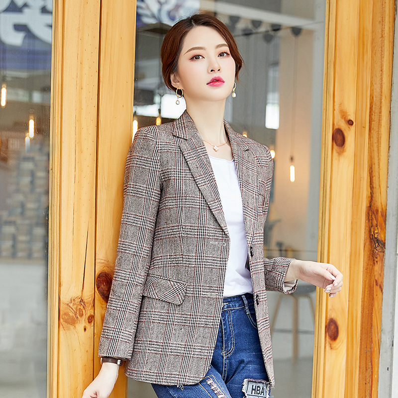Business office ladies jacket Autumn new single-breasted plaid women's blazer Temperament Slim Long Sleeve Suit Female 2019
