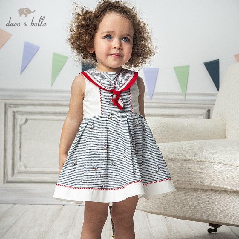 DB13002 Dave Bella Summer Baby Girl's Princess Print Striped Dress Children Fashion Party Dress Kids Infant Lolita Clothes