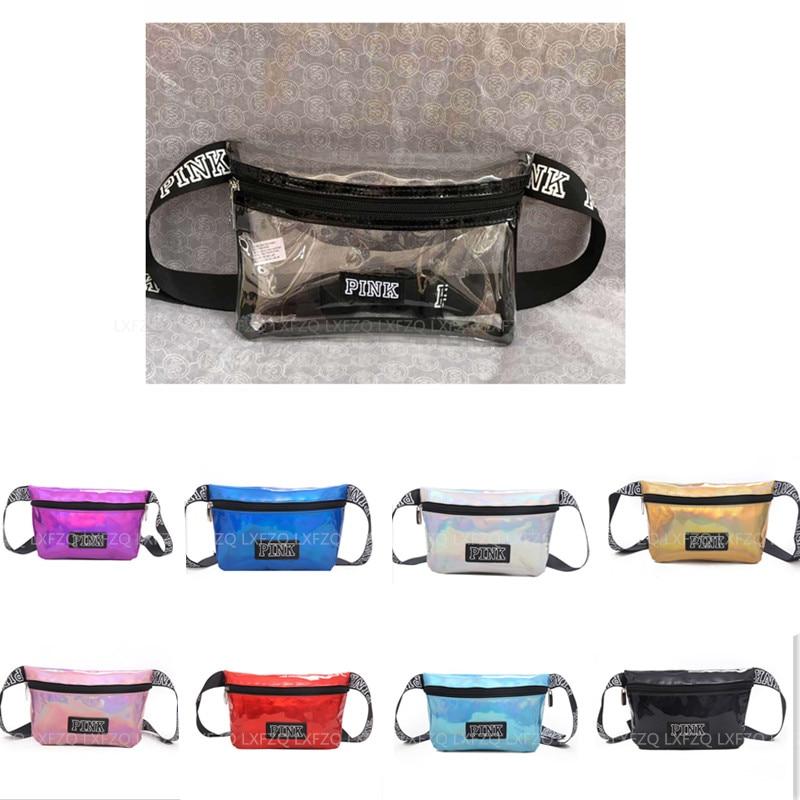 Fanny Pack Laser Pu Belt Bag Pink Banana Bags Letter Waist Bag Holographic Female Belt Fashion Heuptas Handbags Purse Pouch Belt