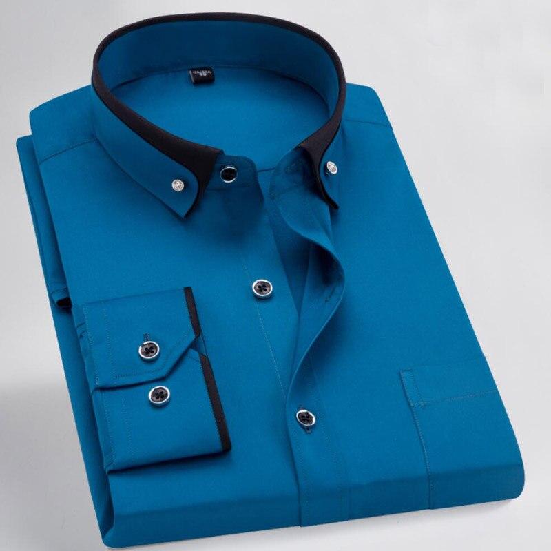 Men Dress Shirt Formal Long Sleeve Large Size Big 7XL 8XL Patchwork Wedding Shirts Pink Navy Blue 9XL 10XL Blouse Purple