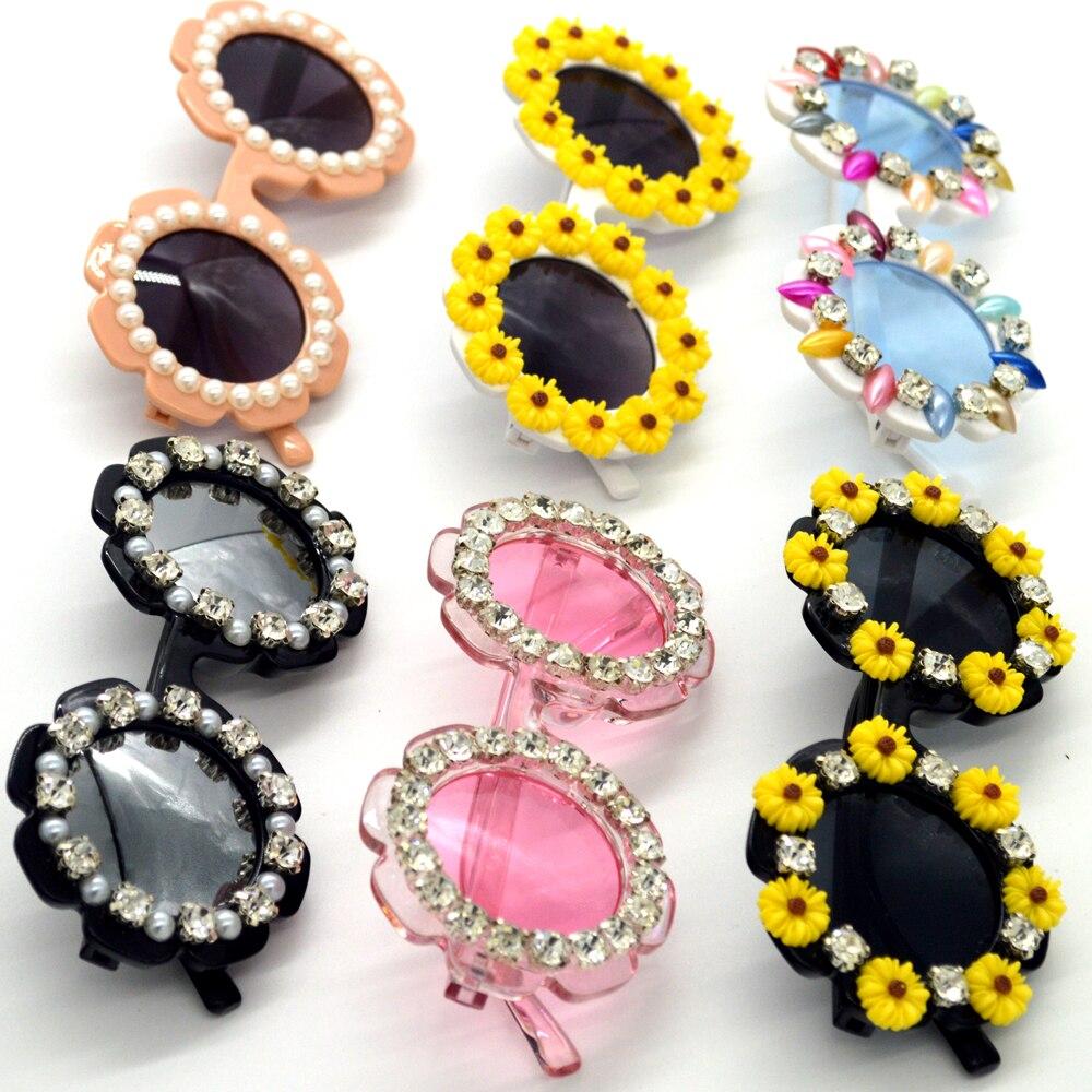 ZAOLIHU Flower Kids Sunglasses Small Round Handmade Diamond Eyewear 2020 Summer Beach Eyewear Children Party Eyeglasses Gafas
