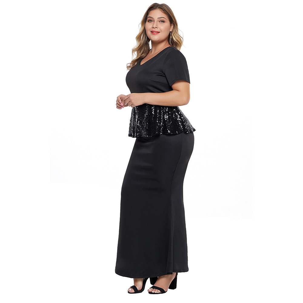 New Style Large Size Dress Fat Mm Black Paillette Long Sleeve Europe And America Casual Dress Women's 611114