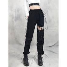 Женские брюки карго с вырезами повседневные свободные прямые
