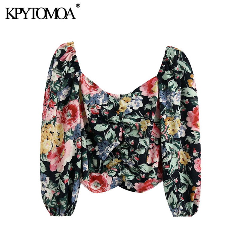 KPYTOMOA Women 2020 Fashion Floral Print Pleated Cropped Blouses Vintage V Neck Puff Sleeve Female Shirts Blusas Chic Tops