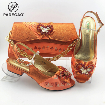 2020 Summer New Design African Women Matching Shoes and Bag Set Italian Style in Orange Nigerian Ladies Wedding Shoes and Bag