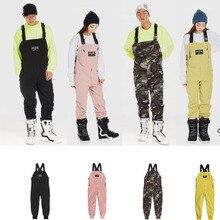 Мужские и женские незаменимые утепленные нагрудники с кулиской, дизайнерские штаны для сноуборда, комбинезон на лямках, штаны из плотной ткани, хлопковые комбинезоны, штаны