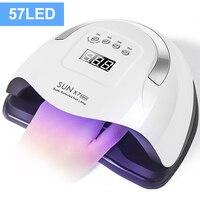 Lámpara de uñas LED UV 114W/72W, secador de uñas para esmalte de Gel, curado rápido con 57 luces LED de Gel con Sensor inteligente y pantalla LCD