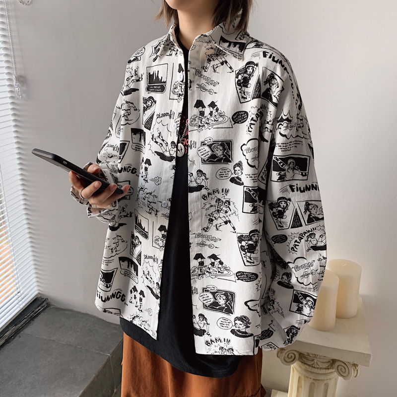 2020 Fashion Korean Clothes Camisas Para Hombre  Loose Fit Mens Dress Shirts For Lovers Comic Printed Couples Street Clothing