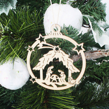 10PCS Vintage Hollow Christmas Gift Wooden Pendants Ornaments Wood Craft Tree Decorations Kids Toys Gifts