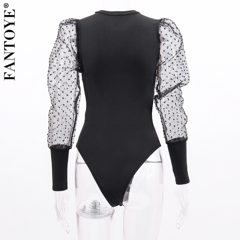 Hd5d83525584e4365b1ff797f894aacb4M - FANTOYE New Lace Puff Sleeve Women's Bodysuit Autumn Long Sleeve Polka Dot Vintage Bodycon Jumpsuit Tops Skinny Mesh Bodysuits
