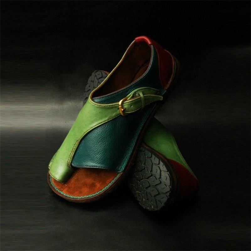 Woman Buckle Sandals Female Clip Foot Shoes Ladies Rome Fashion Flats Women's Open Toe Women Mixed Color Footwear Plus Size