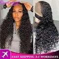 Бразильские парики с волнистым кружевом, 100% человеческие волосы Remy, кружевные парики HD 5X5, прозрачный парик с закрытием шнурка, длинные вьющ...