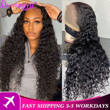Brazilian Water Wave Lace Front Wig Shuangya 100% Remy Human Hair Lace Wigs For Women 4x4 Lace Closure Wig Transparent Lace Wig