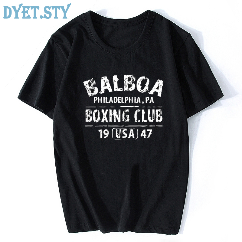 Rocky Balboa Boxing Club Philadelphia PA T-shirt Men Summer Cotton Short Sleeve Tops Tee Shirt Tshirt Casual T shirts