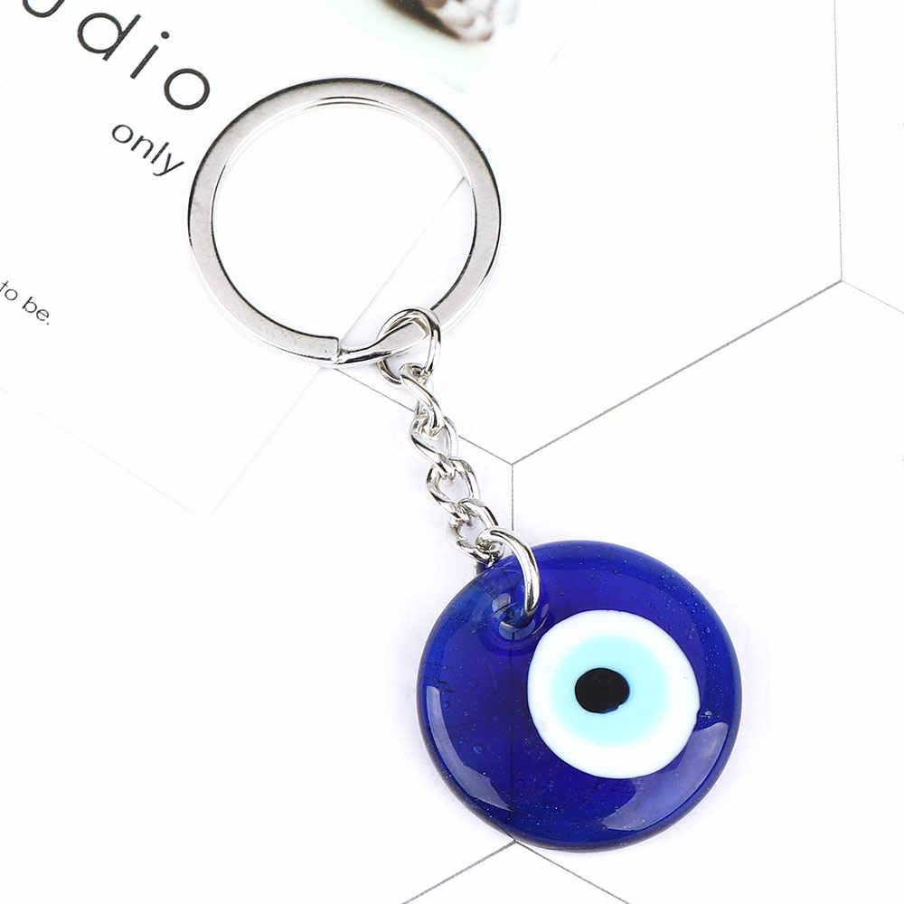 الموضة محظوظ التركية اليونانية الأزرق العين حلية قلادة هدية صالح Keychain بها بنفسك المفاتيح سيارة سلسلة مفاتيح حلقة اكسسوارات sleutelشماعات حلقة