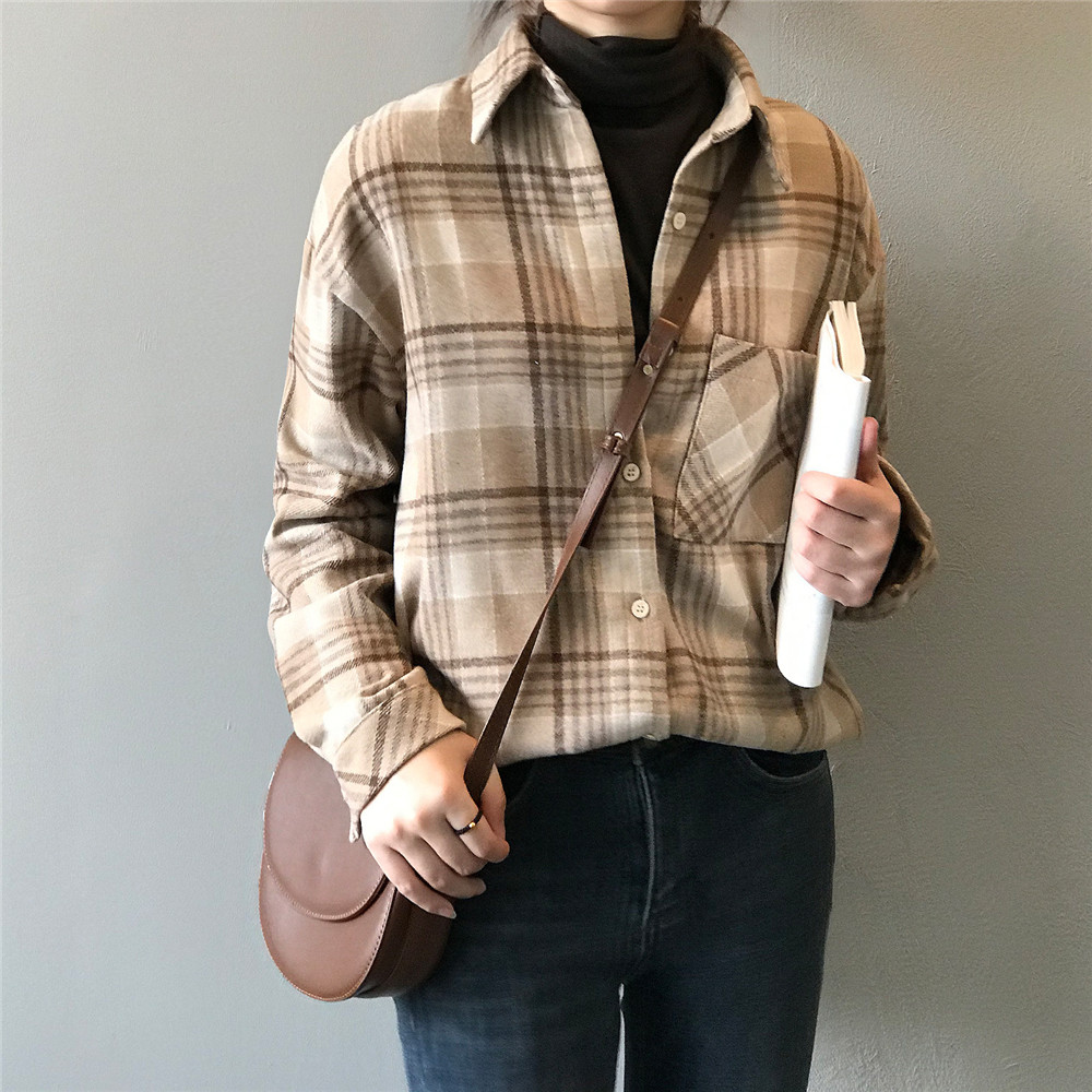 Spring Thick Loose cotton plaid Women blouses shirt 2020 female long sleeve Casual Warm women Blouse shirt office lady top Y0675 (7)