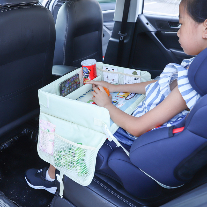 Portable Car Baby Seat Table Multifunctional kid Cartoon Car Safety Seat Tray  Waterproof Play Table  Snacks Organizer Storage