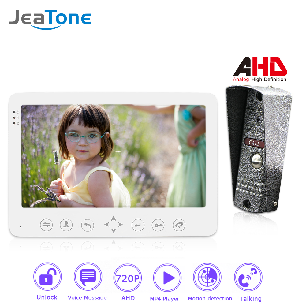 720P/AHD 7'' Video Door Phone Intercom System Waterproof Camera Support Mulit-language/Voice Message/Moving Detection/MP4 Player