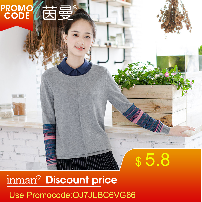INMAN Women's Florals Striped Long Sleeves Pullover Sweater Autumn  Slim Tops