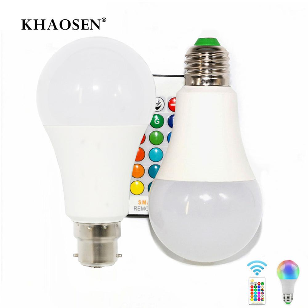 LED Bulb RGBW Light E27 B22 RGB LED Lamp 5W 10W 15W 85-265V 110V 220V  IR Remote Control 16 Color Change Christmas Lampada LED