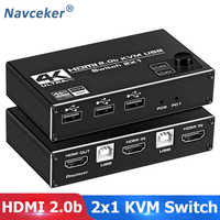 Navceker-Interruptor de doble Monitor, 2 en 1, KVM, 2 puertos, 4K, 60Hz, HDMI, KVM, teclado, ratón, impresora Share, 1080