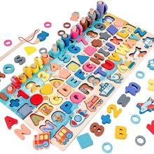 3D Wooden Toys Montessori Magnetic Fishing Digital Shape Matching Blocks Educational Toys For Children Busy Board Math Preschool