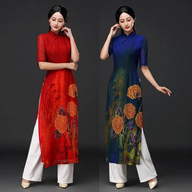 2019 Ao Dai Set Asian Clothes Vietnam Clothing Ao Dai Vietnam Half Sleeve Women Chiffon Long Dress+pants For Party