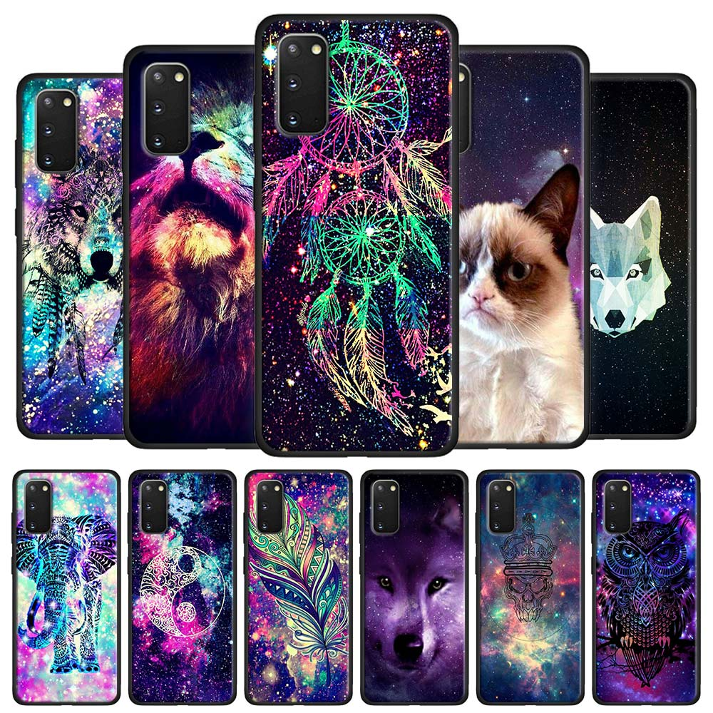 Space Tribal Wolf owl Case Coque for Samsung Galaxy S10 S20 S7 S8 S9 S10e S10 Lite Note 8 9 10 Plus 20 Ultra 5G Black Cover(China)