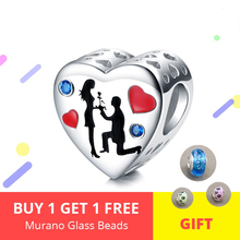 Authentic 100% 925 Sterling Silver Heart Proposal Charm Bead fit Original DIY Bracelet pandora Jewelry for Valentine's Day Gift lzeshine 100% real 925 sterling silver effervescence murano glass bead fit original pandora charm bracelet authentic psgb