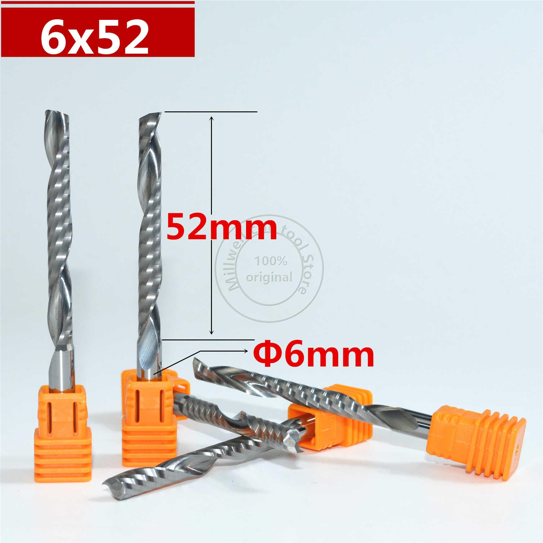 6mm * 52mm, Freeshipping, strumenti di legno CNC, Fresa in metallo duro, la lavorazione del legno inserto router bit, di Tungsteno fresa, MDF, PVC, Acrilico