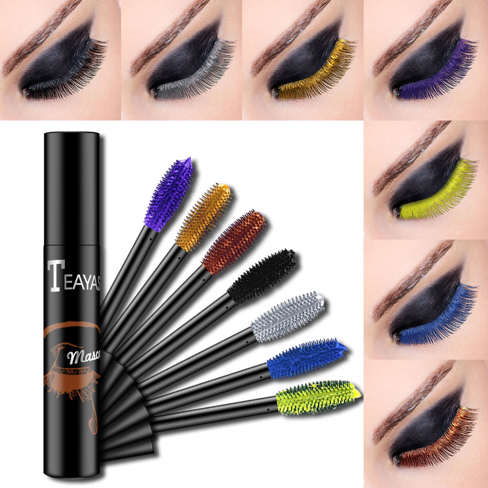 Colorful Mascara 4d Silk Fiber Mascara White Green Curling Thick Purple Mascara Waterproof Curling Makeup Blue Gold Eye Makeup
