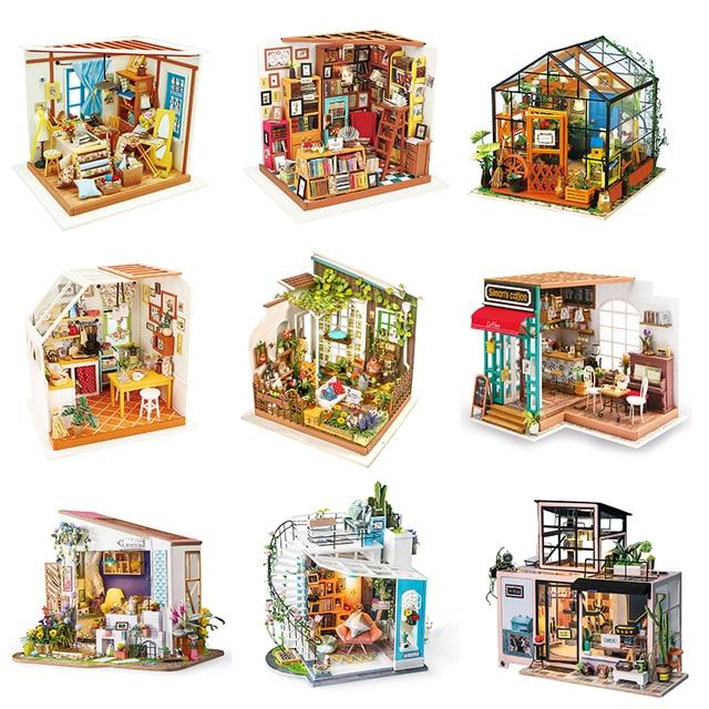 Robotime لتقوم بها بنفسك دمية مصغرة خشبية 1:24 دمية اليدوية مجسم لمنزل بناء مجموعات لعب للأطفال الكبار انخفاض الشحن