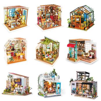 Robotime DIY drewniany miniaturowy domek dla lalek 1 24 Handmade Model domku dla lalek zestawy do budowania zabawek dla dzieci dorosłych Drop Shipping tanie i dobre opinie Dorośli CN (pochodzenie) Drewna Not include Battery Paint Glue Dollhouses 319*207*50mm Unisex