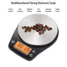 3kg/0.1g Digital Coffee Scale With Timer Glass Surface High Precision Kitchen Electronic Scales With Orange Backlight