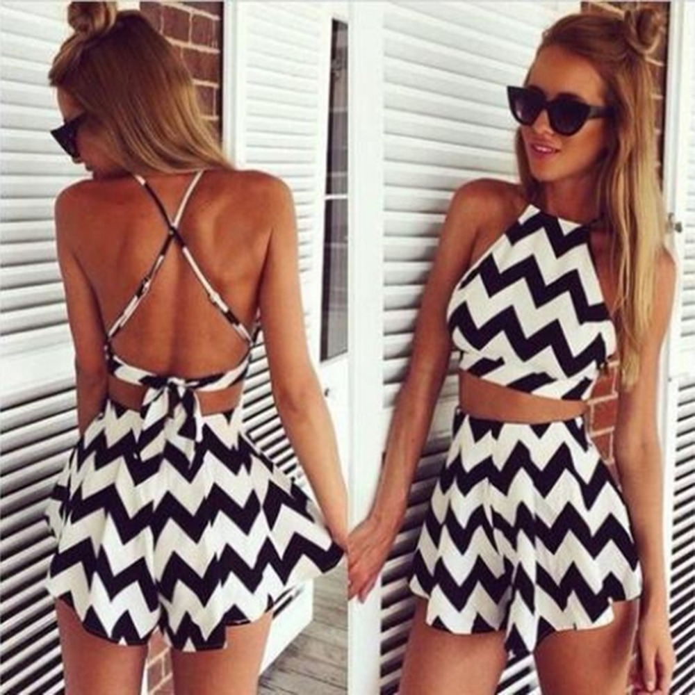 Fashion Women Two Pieces Striped Culotte Sexy Backless Dress Halter Suspenders Sleeveless Back Cross Crop Top & Mini Skirt Sale