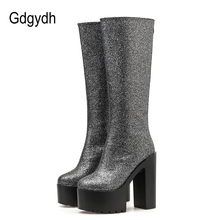 Gdgydh Sequined Cloth Knee High Heel Boots Women Platform For Female Nightclub Shoes Sexy Utral Heels New