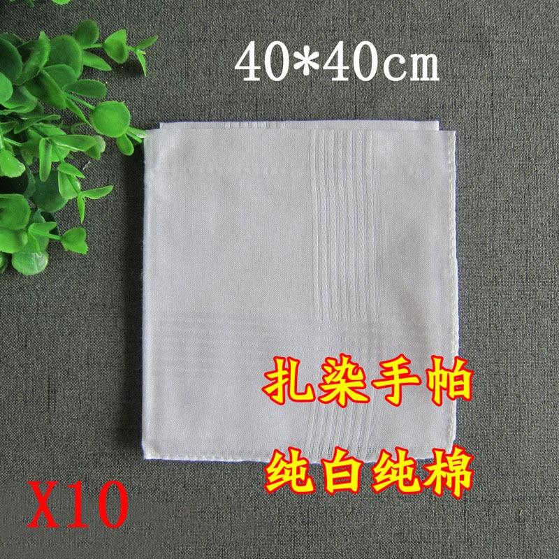 10 шт., 100% хлопок, носовой платок для мужчин, карманные квадраты, носовой платок для женщин, белый носовой платок, винтажный, 40 см * 40 см, для