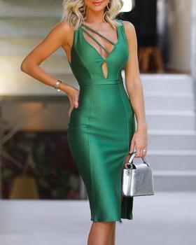 Vestido ajustado de tirantes para mujer, liso, verde, sin mangas, Sexy y ajustado para fiesta