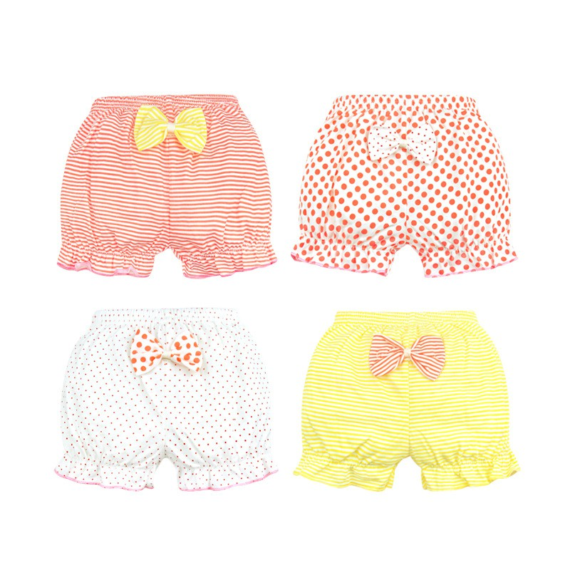 Cotton Baby Underwear Kids Soft Boxer Briefs Girl Underpants Infant Cute Stripe Bow Panties Baby Breathable Shorts