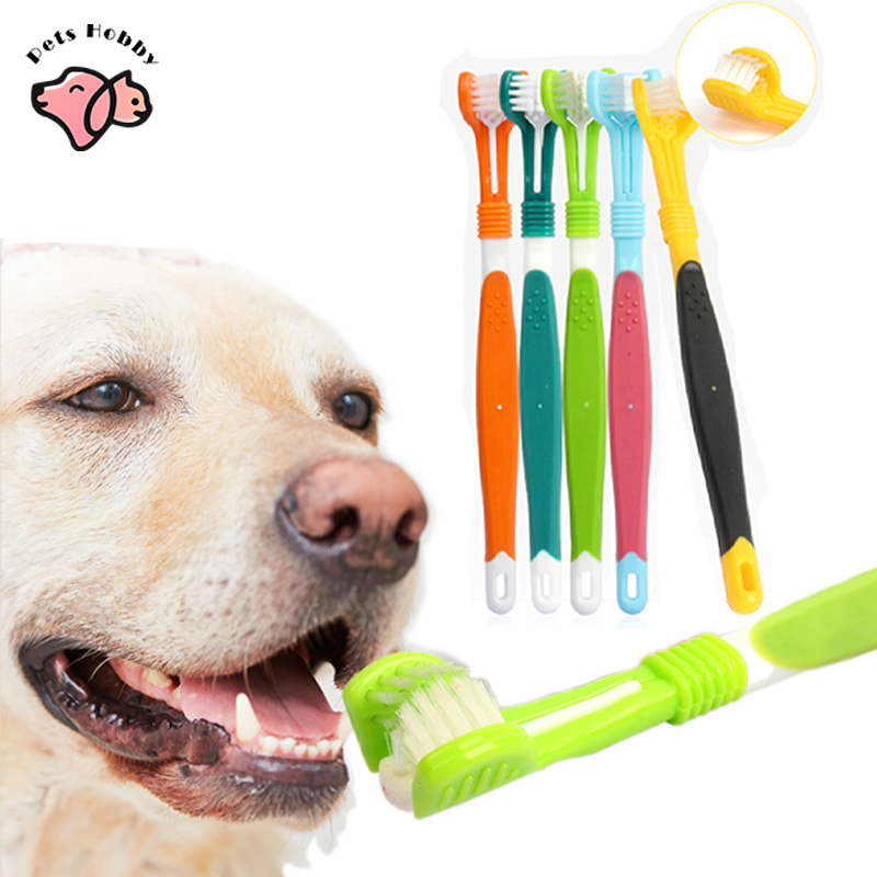 Pet Toothbrush Three Sided Dog Brush Addition Bad Breath Tartar Teeth Tool Dog Cat Teeth Cleaning Pet Supplies Dogs Accessories
