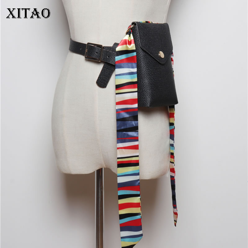 XITAO Fashion Trend Detachable Pouch Cummerbunds Women Fashion New 2019 Autumn Elegant Patchwork Goddess Fan Cummerbunds GCC2239