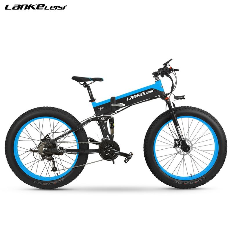 "EU Quality Level LANKELEISI 26x4.0"" 1000W Fat Tire Folding Electric Bicycle 48V 1000W 13AH Panasoni'c Lithium Battery 2"