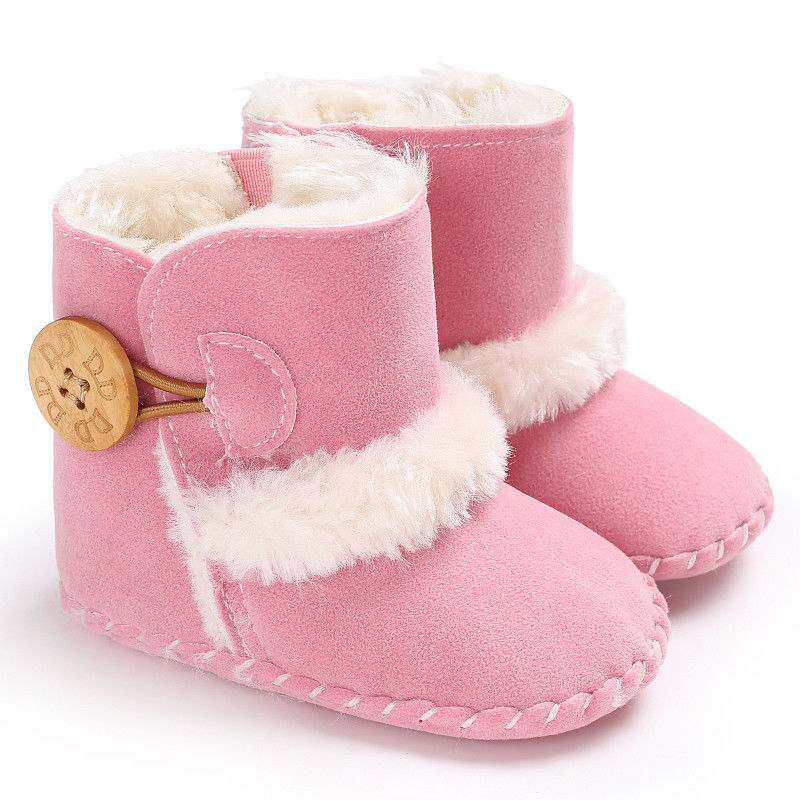 0-18M Newborn Infant Baby Girls Snow Boots Winter Warm Baby Shoes Solid Button Plush Ankle Boots 4