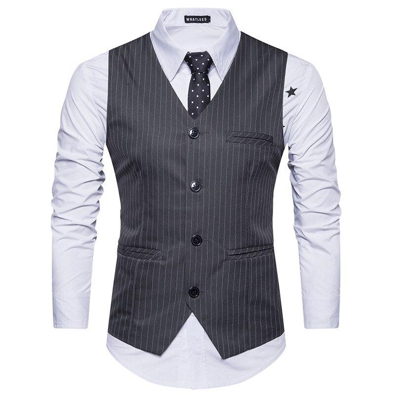 New Men Striped Vest Single-breasted Casual Slim Jacket Business Vest Waistcoat Men Vests Mens Suit Vest Fit Mens
