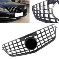 GTR Car Front Grille AMG Grill For Mercedes Benz E Class W212 E250 E300 E350 E500 E550 E63 Sedan Wagon 2010 2013 Gloss Black