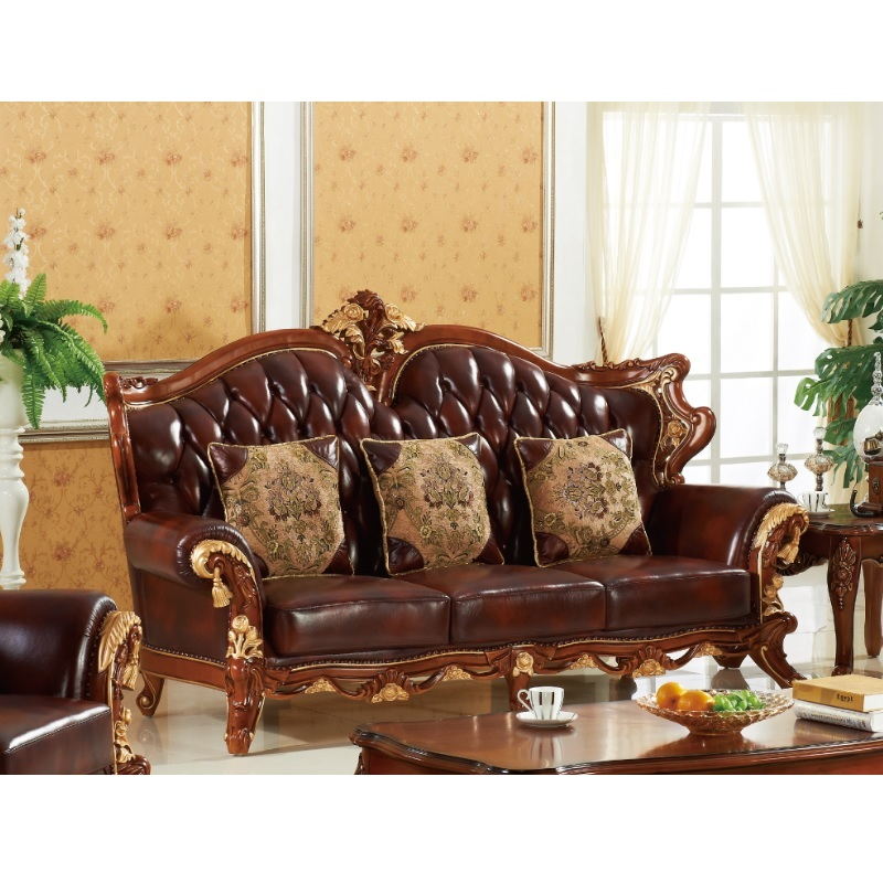 Antique Style Leather Sofa Sets 1 2 3