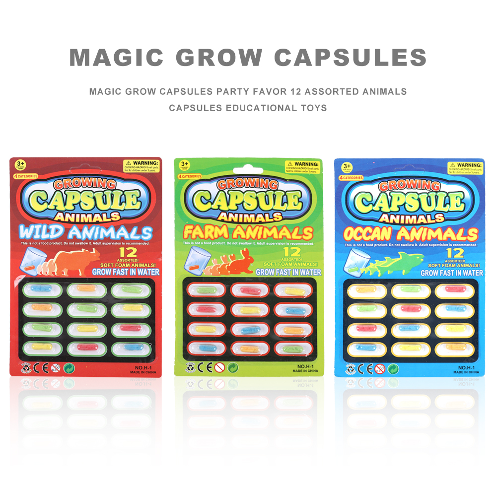 Magic Grow Capsules Party Favor 12 Assorted Animals Capsules Educational Toys