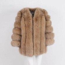 Новая куртка средней длины из искусственного лисьего меха, женская зимняя куртка из искусственного лисьего меха, женская теплая куртка из искусственного лисьего меха, пальто для женщин размера плюс S-4XL